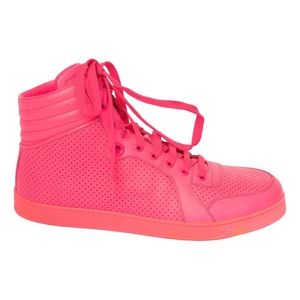 GUCCI HOT PINK LEATHER HIGH TRAINERS (8 US mens)
